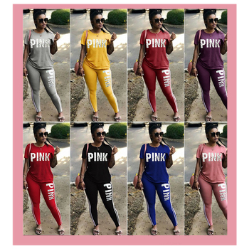 New Pink Letter Print Tracksuit Women's Sports Suit Top And Long Pants Casual Short Sleeve Summer Ropa Mujer Overalls Clothing 1