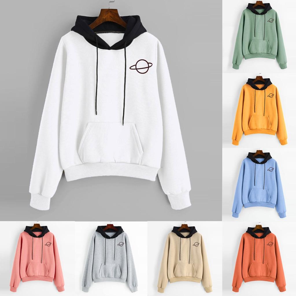 Planet Printing Elastic Rope Keep Warm Sweatshirt Casual Long Sleeve Pouch Pocket Pullover Hoodie Top Blouse Women Sudadera