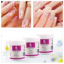 Прозрачный/розовый/белый 120 мл акриловый порошок резьба кристаллический полимер 3 цвета дизайн ногтей хрустальные порошки полигелевые наконечники для наращивания ногтей