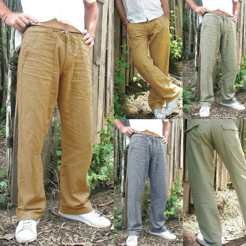 Men's Summer Drawstring Lightweight Pants Casual Solid Color Cotton Linen Loose Trousers