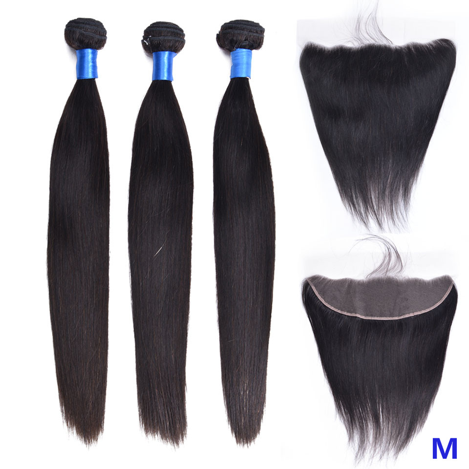 "OYM HAIR Straight Hair 8""-26"" Middle Ratio Non-Remy Natural Color Malaysian Human Hair 3 Bundles With Frontal Closure"