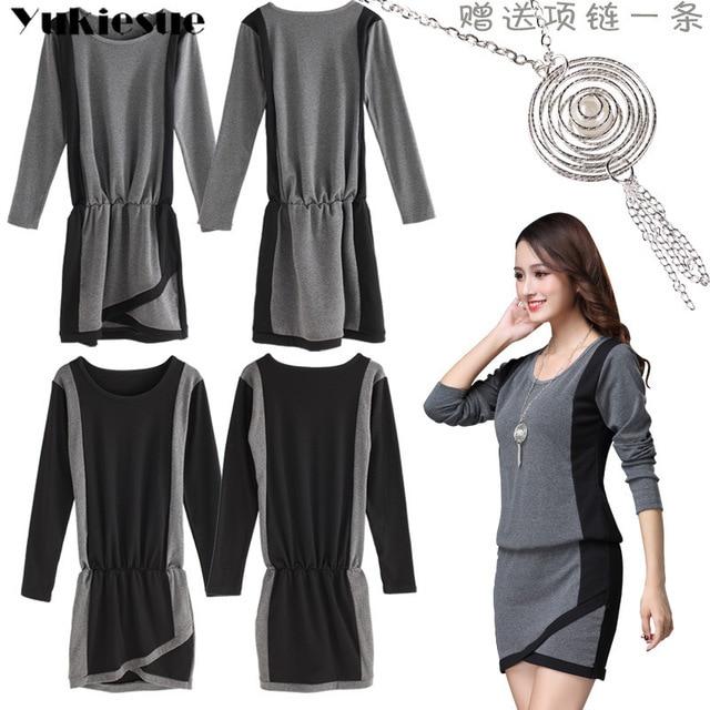winter office OL dresses for women skinny women's dress long sleeve black maxi party long sexy bodycon dress female Plus size 5