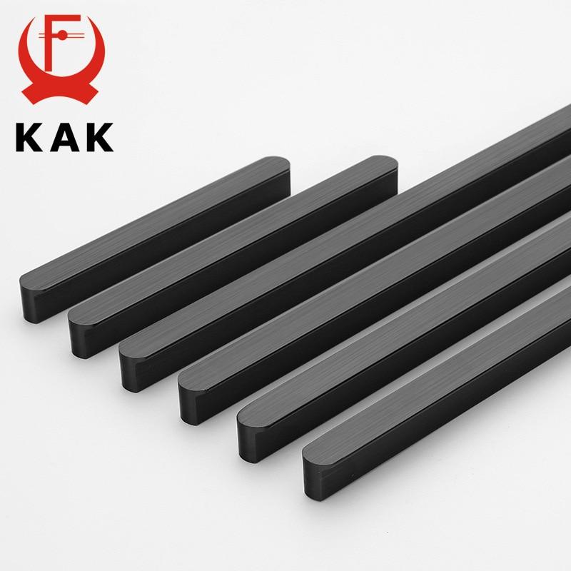 KAK Amerikanischen Stil Schwarz Schrank Griffe Aluminium Legierung Küche Schrank Zieht Schublade Knöpfe Lange Möbel Griff Hardware