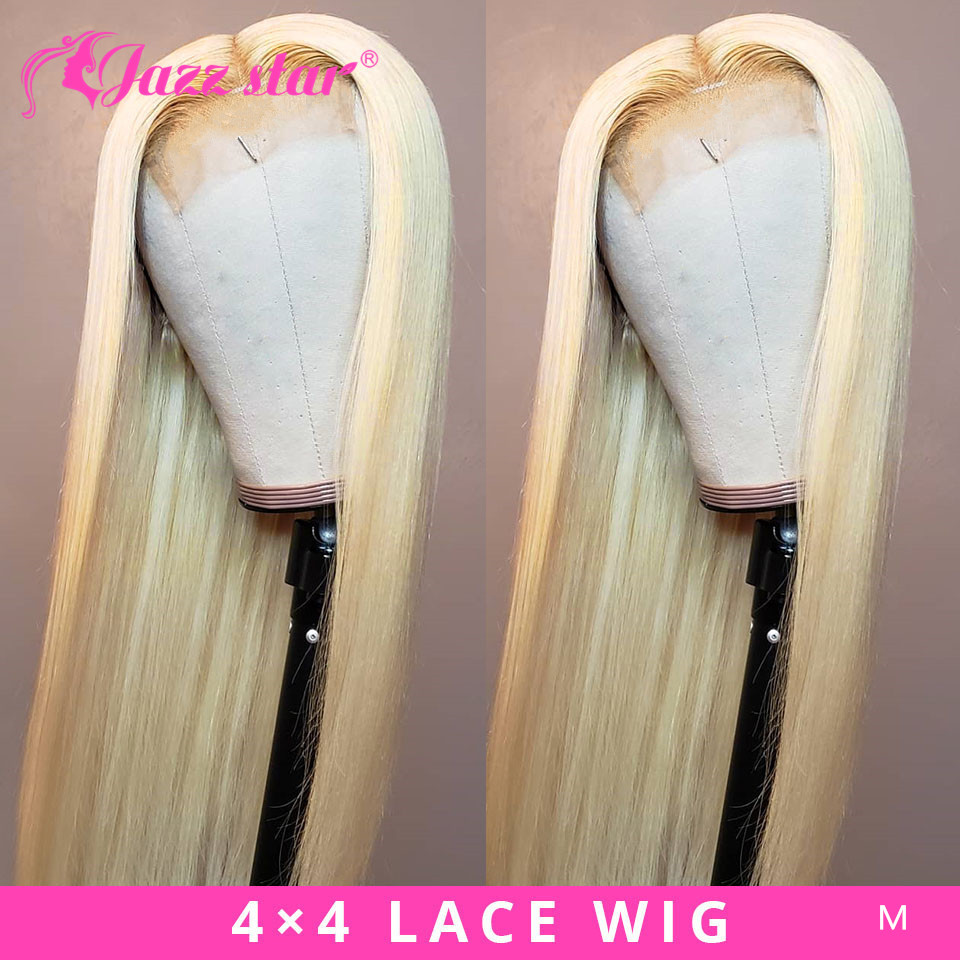 Brazilian Lace Wig 4*4 Straight Lace Closure Wig Human Hair Wigs 613 Blonde Wig Pre-plucked with Baby Hair Jazz Star Non-Remy image
