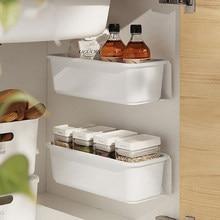 Panier de rangement de cuisine en plastique, boîte suspendue à tirer et à pousser, tiroir de rangement pour sous l'évier ou la salle de bain