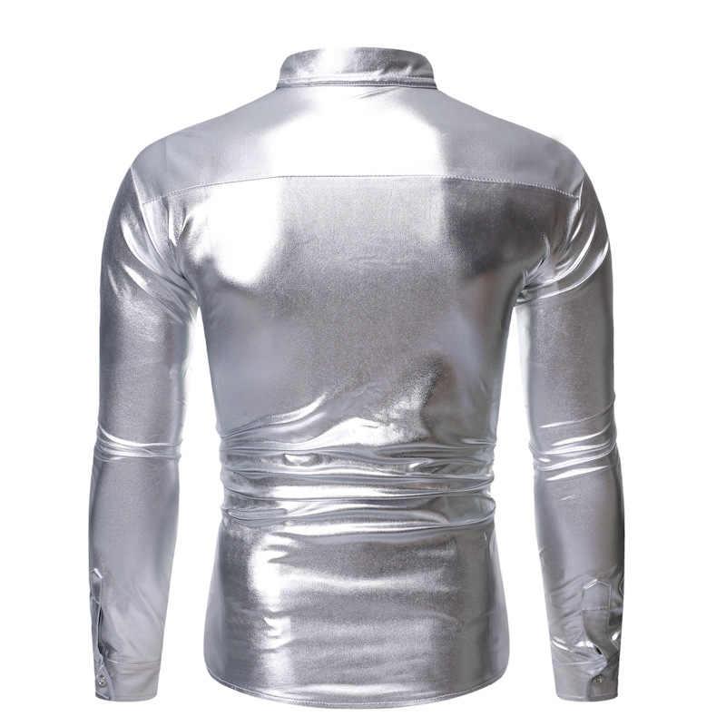 מבריק רסיס מתכתי נצנצים Clubwear חולצת גברים ארוך שרוול לחצן למטה דיסקו מסיבת חארות Mens שלב ריקוד נשף גליטר תחתונית