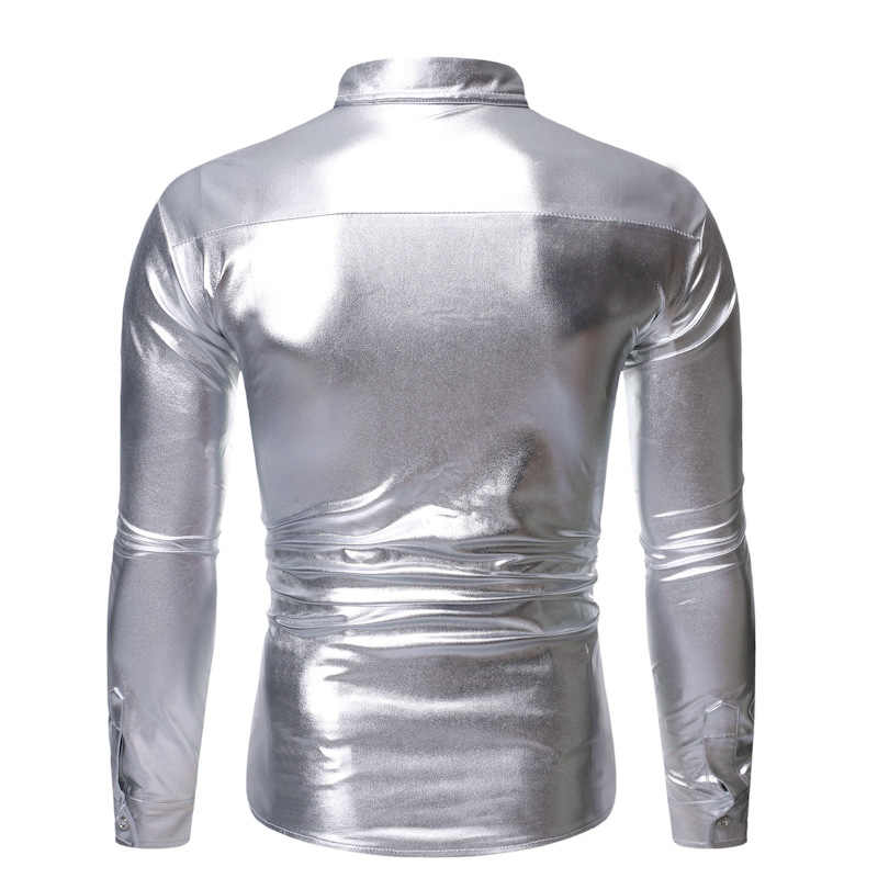 Shiny Sliver Metallic Sequin Clubwear Shirt Men Long Sleeve Button Down Disco Party Shits Mens Stage Dance Prom Glitter Chemise