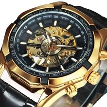 Kazanan resmi otomatik İzle erkekler altın İskelet mekanik erkek saatler marka lüks deri kayış moda elbise kol