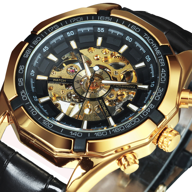WINNER Official Automatic Watch Men Golden Skeleton Mechanical Mens Watches Brand Luxury Leather Strap Fashion Dress Wristwatch