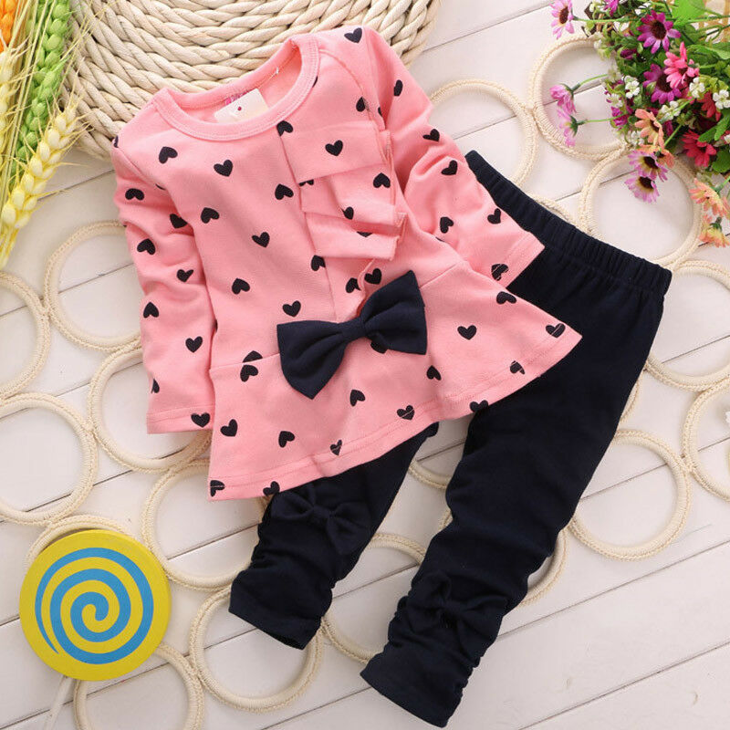 Kids Girls Heart-shaped 2PCS Clothes Outfits Long Sleeve Tops Sweater +Legging Pants Bowknot Cotton Toddler Set  2-5 Years