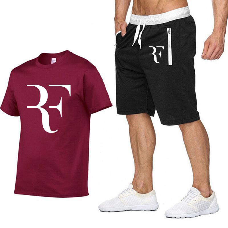 Image 5 - Roger Federer RF Tracksuit Summer Shirt +Shorts Outwear Sporting Men Sets T Shirts clothing Two piece suit Casual Tshirt-in Men's Sets from Men's Clothing