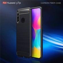 Для huawei y7p чехол из углеродного волокна противоударный силиконовый