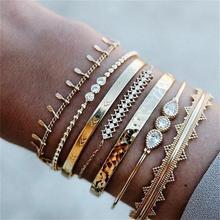 7pcs/set  Trendy Luxury Jewelry Alloy Triangle Full Crystal Bracelet Gold Color Cuff Bangle for Women Geometric Fashion Bracelet trendy solid color nail shape cuff bracelet for women