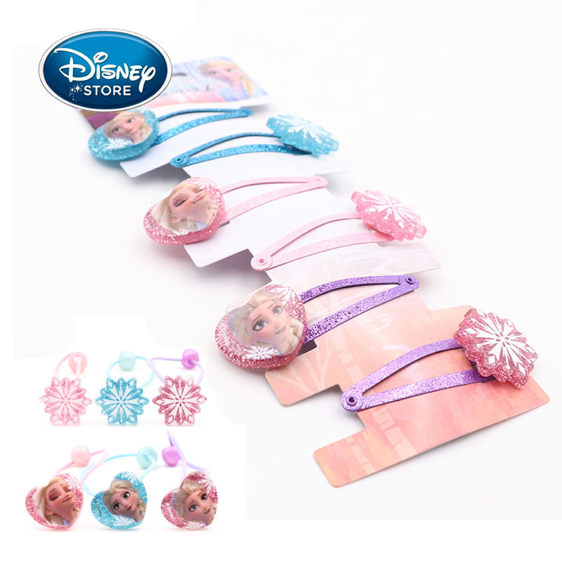 Disney 6pcs/set Frozen 2 Girl Hair Accessories Set Elsa Anna Princess Jewelry Accessories Cartoon Hair Rope Hair Clip Girl Gifts