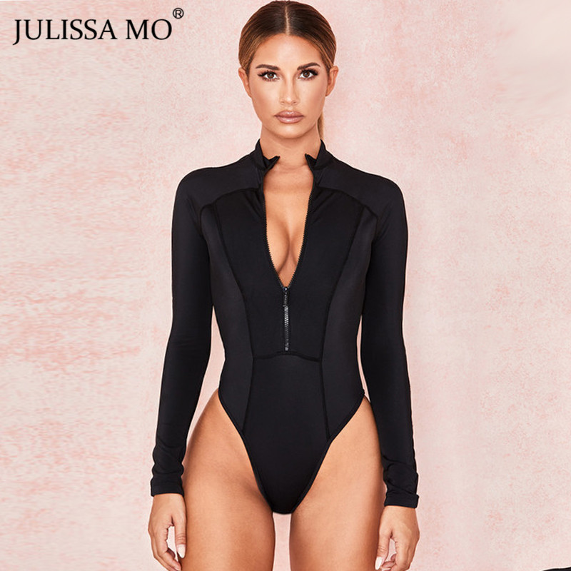 JULISSA MO Black Long Sleeve Skinny Bodysuit Women Tops Fashion Zipper Basic Bodycon Rompers 2019 Female Casual Elastic Playsuit