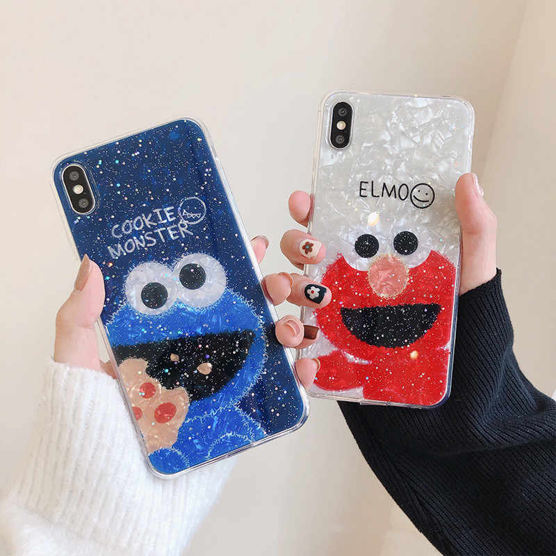 Cute Cartoon Sesame Street Cookie Elmo Phone Case For iPhone 7 7 Puls 6 6S 7 8 Puls X XS Max XR Cases Glitter Soft TPU Cover