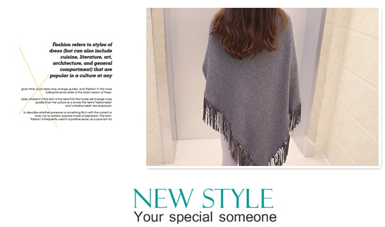Women Spring Autumn Knitted Sweater Poncho Coat 41