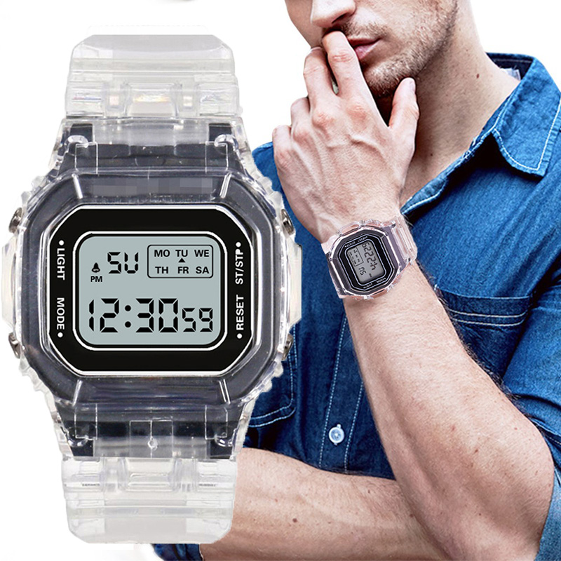 Mens Acrylic Watches LED Digital Date Alarm Sports Men Watch Life Waterproof Business Sports Casual Electronics Mens Wristwatch