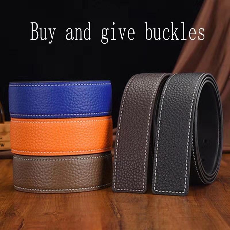 MINGLILONG New Gold Cow Skin Leather Belt Business Men H Belt H Buckle Waist Belts
