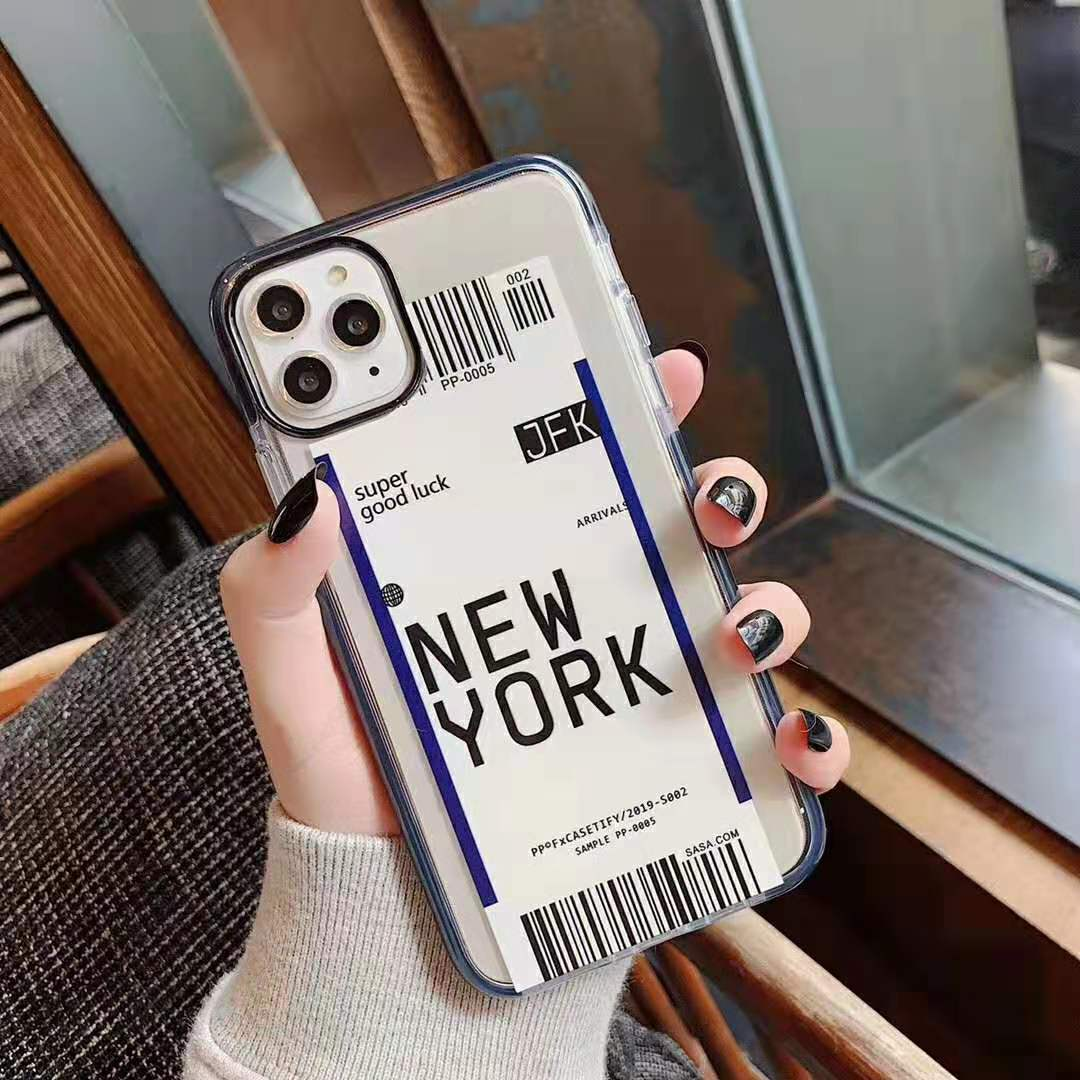 H7e98d5cdf8e84cc083f6f4bd279e32e9I - Toronto New York Luxury Air Tickets Bar code Label case for iPhone 11 Pro XS Max XR 6s 7 8 Plus Los Angeles 3D Color Clear cover