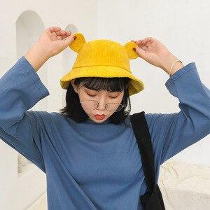 Harajuku Kwaii, милые уши, однотонный вельвет, женская панама мультяшная шапка, маленькая Желтая Студенческая шляпа, осенне-зимняя солнцезащитная ...