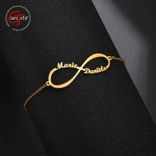 Goxijite Nach Name Unendliche Armband Für Frauen Personalisierte Typenschild Charms Handmade Liebe Armband Geschenk Edelstahl