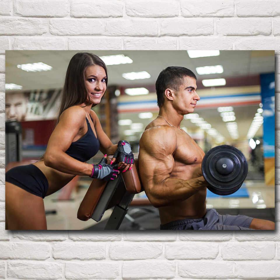 FOOCAME Fitness Model Sport Gewichtheffen Vrouwen Workout Art Silk Posters en Prints Gym Muur Schilderijen Decoratie Foto 'S