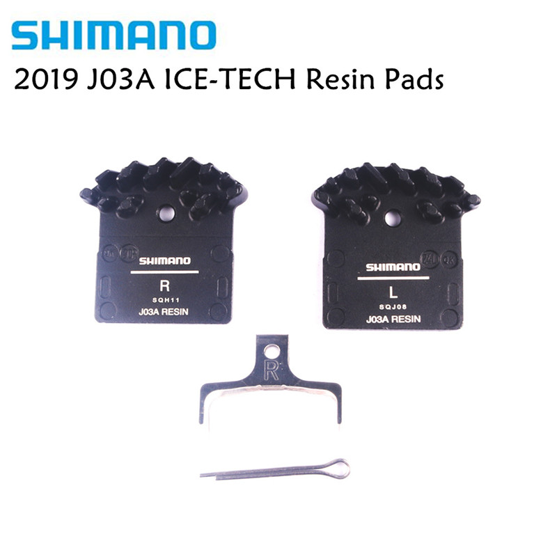 <font><b>Shimano</b></font> J03A ICE-TECH Resin Cooling Fin Disc <font><b>Brake</b></font> Pads for M6000 SLX M7000, Deore <font><b>XT</b></font> M785 <font><b>M8000</b></font>, XTR M9000 Update from J02A image