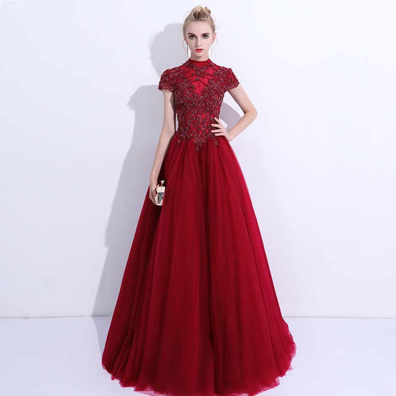 2020 di Applique Del Merletto del Vestito Da Sera Robe de Soiree Vestido de Fiesta Una Linea Illusion Sexy Vestito Convenzionale Elegante Vestito Da Promenade MYX-141