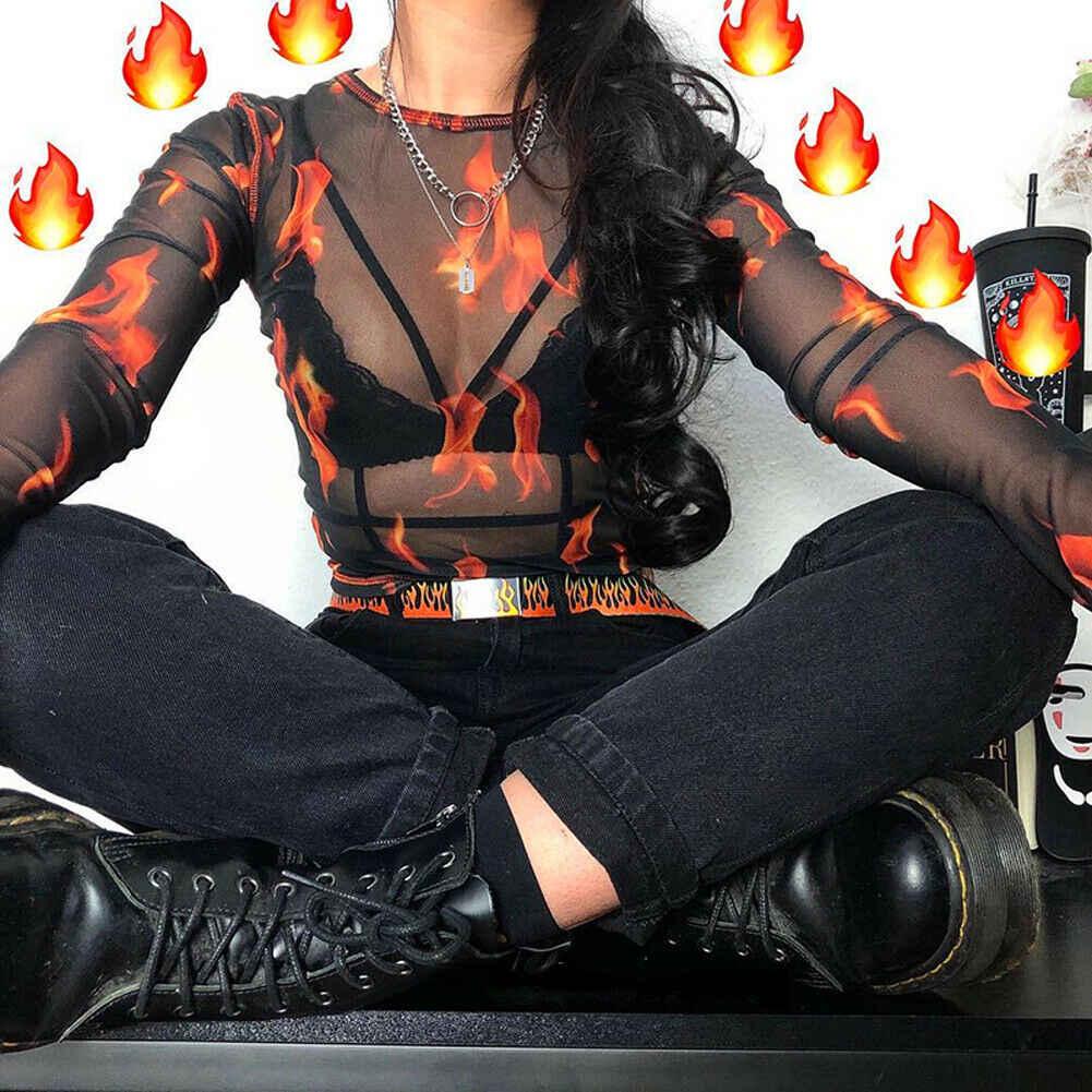 Gợi Cảm Nữ Gothic Hip Hop Dài Tay Thấy-Thông qua Trong Suốt Lưới Lửa Ngọn Lửa In Hình Cổ Tròn Cao Cấp Mỏng áo sơ mi nam