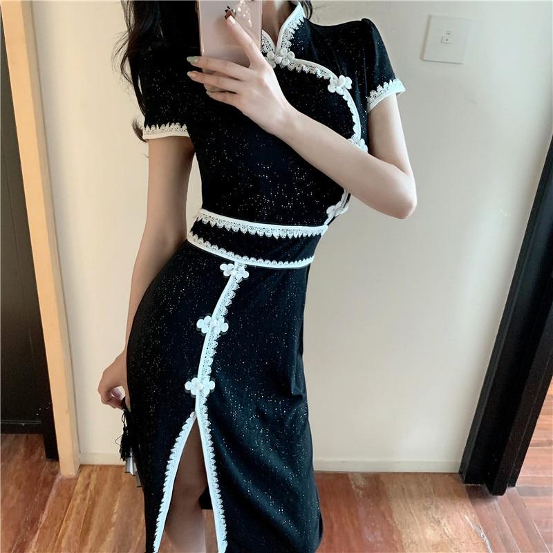 Элегантное женское платье 2019 летнее ретро платье с пряжкой Женский сексуальный разрез Cheongsam платье женские вечерние платья