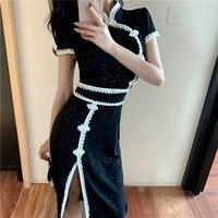 elegant feminina dress 2019 Summer Retro Buckle Dress Ladies Sexy Slit Cheongsam dress Female Evening Party Dresses