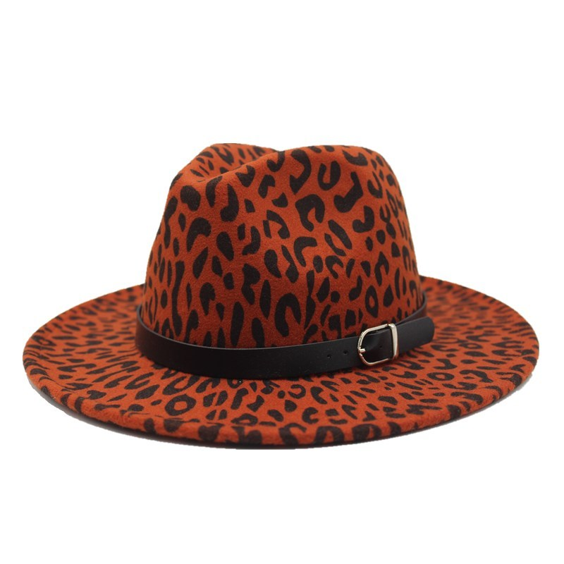2019 new Trend Unisex Flat Brim Wool Felt Jazz Fedora Hats Men Women Leopard Grain Leather Band Decor Trilby Panama Formal Hats 5