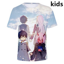 3 to 14 years kids t shirt Anime DARLING in the FRANXX 3d t-shirt boys girls Cool Zero Two cosplay tshirt Tee children clothes