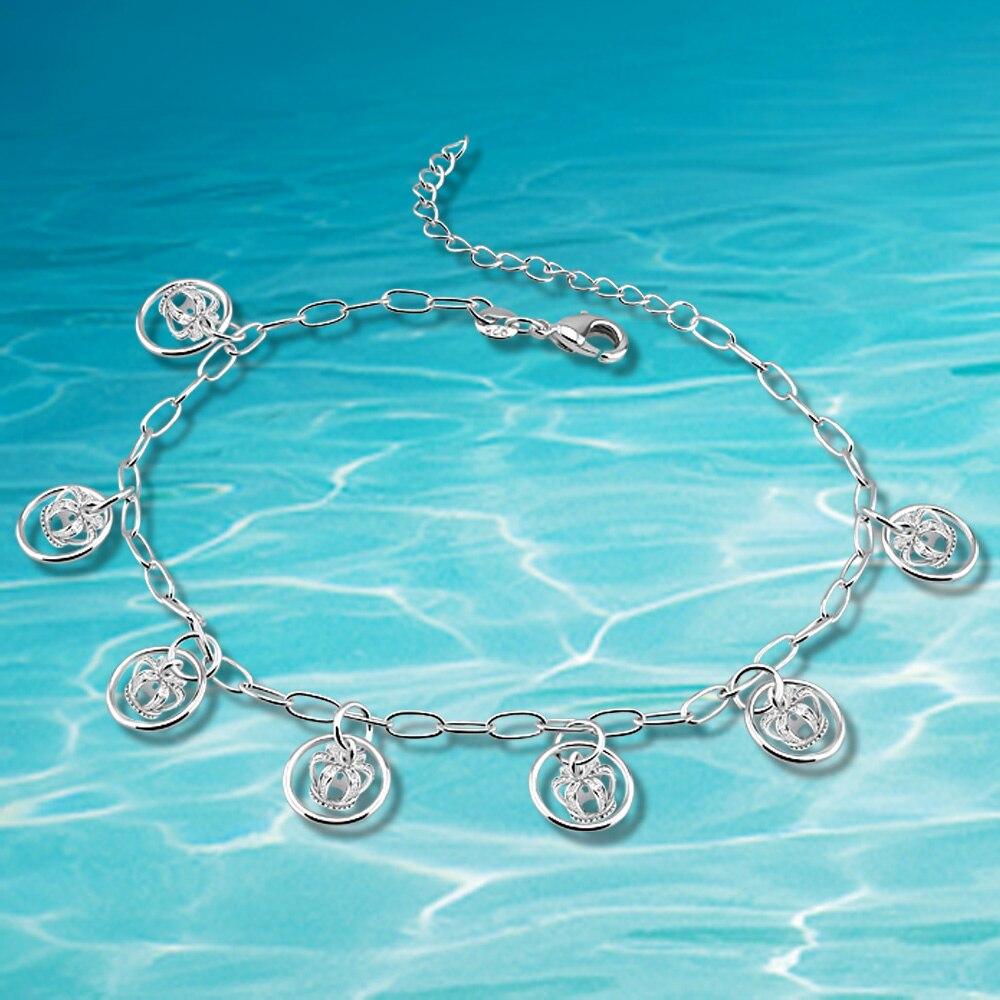 Girls leg bracelet retail,hot sale fashion brand silver anklet jewelry
