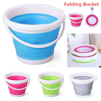 Fashion 3/5/10L Folding Silicone Collapsible Bucket Camping Outdoor Fishing Pot Durable Household cleaning 3 Colors Optional 1