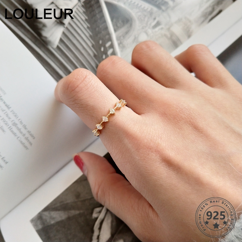 LouLeur 925 Sterling Silver Zircon Rings Elegant Creative Adjustable Slim Ring For Women Party Fashion Fine Jewelry Female Gifts