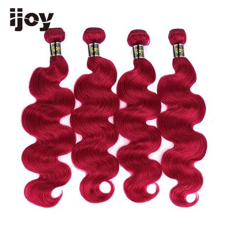 Onda do Corpo Extensão do Cabelo Humano de 130% Burgundy Weave Bundles Feixes Tecer 8-26 Colorido Brasileiro Densidade Não-remy Ijoy Red 3
