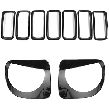 for Jeep Renegade 2019 2020 Front Grille Inserts Headlight Bezels Covers Kit, ABS Black 9 Pcs
