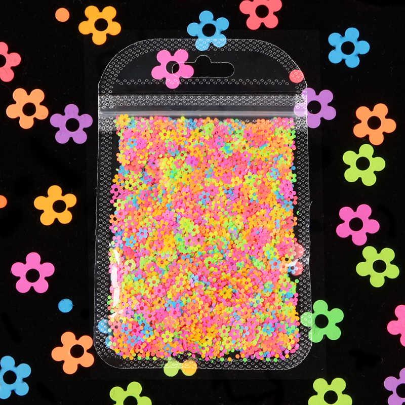 Fluorescenza a Forma di Fiore di Paillettes 4 MILLIMETRI Al Neon Glitter Per Unghie Fiocchi di 3D Colore DELLA MISCELA Unghie Artistiche Accessorio Gel Polish Manicure Decorazioni