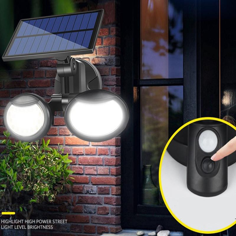 lowest price Solar Lights Outdoor 3 Optional Modes Motion Sensor COB Light Double Head Rotating with 270 Wide Angle Waterproof Security Light