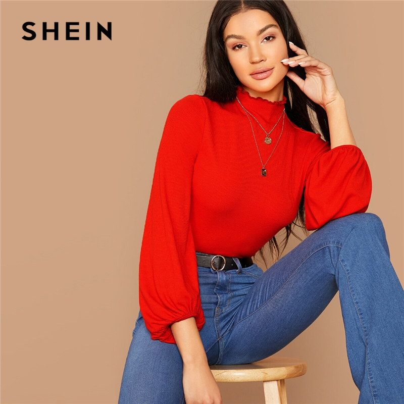SHEIN Stand Collar Lantern Ruched Sleeve Rib-knit Crop Tee Without Necklace Women Autumn Solid Elegant Office Ladies T-shirts 1