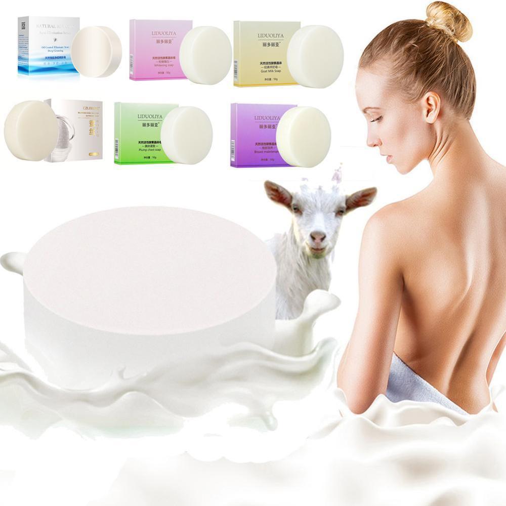 1x Goat's Milk Soap Whitening Enzyme Soap Rose Revitalizing Soap Tightening Pores Body Face Beauty Care