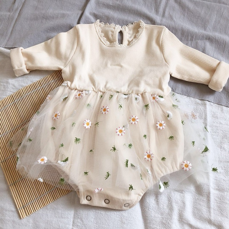 3419 100 Day Baby Princess Tutu Dress Romper One-piece Puffy Gauze Daisy Flower Embroidery Long Sleeve Romper Lace Collar