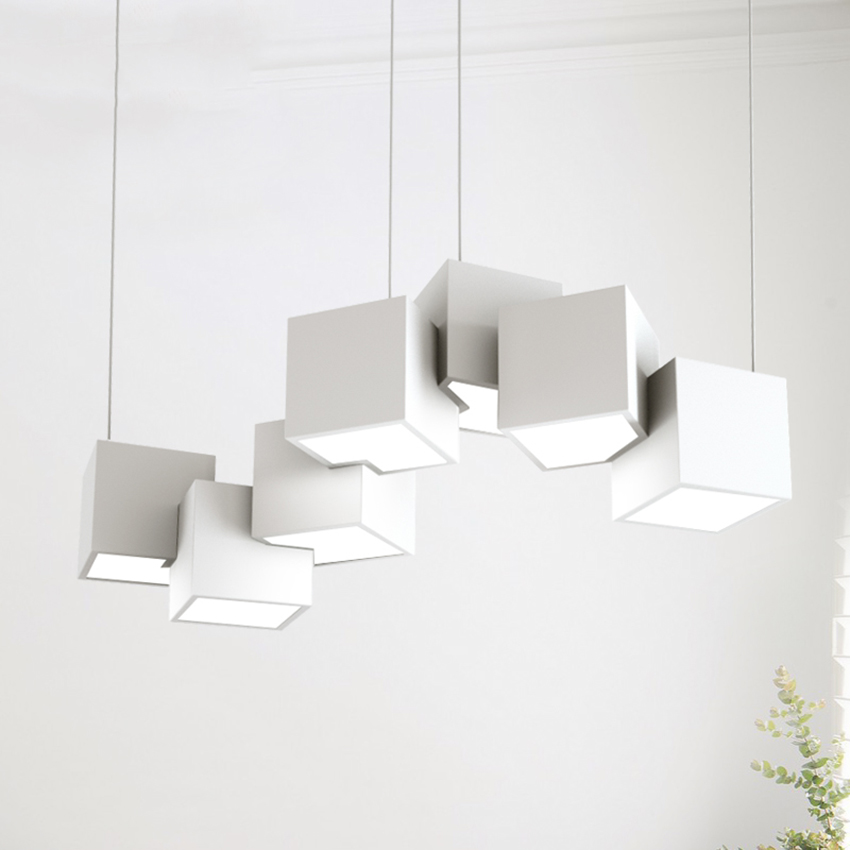 Modern LED Personality Design Black/white Long Cube Pendant Lights Nordic Living Room Hanging Lamp Bedroom Bar Lights Luminaire