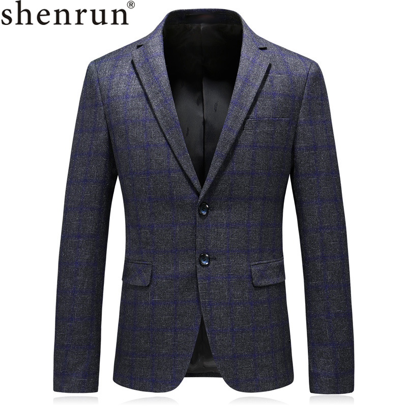 Shenrun Spring Autumn Casual Men Blazer Dark Blue Checked Suit Jacket Single Breasted 2 Buttons Male Business Informal Jackets