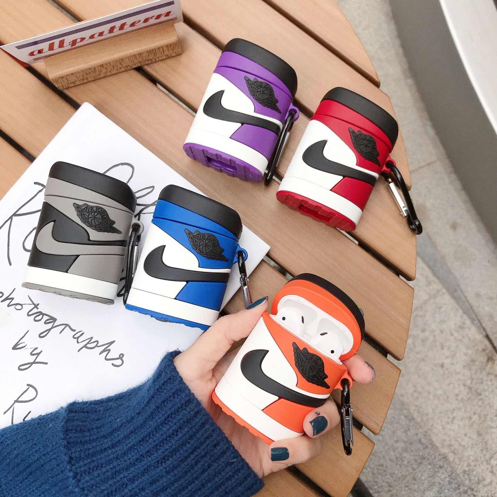 Anti-lost Silicone Soft Shell Sneakers Wireless Bluetooth Headset Cover for airpods 1/2 Silicone Headphone Protective Case