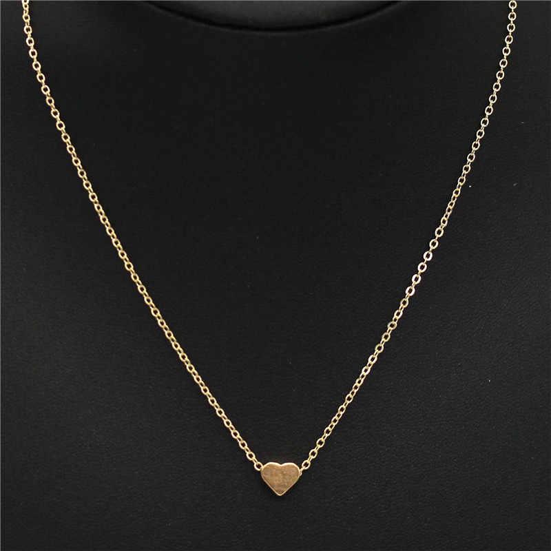 OLaru małe serce choker naszyjnik dla kobiet złoty i srebrny łańcuszek mały miłość naszyjnik wisiorek w kołnierz czeski biżuteria hot sprzedaży