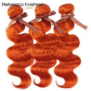 Rebecca Orange Hair Bundles Brazilian Body Wave Remy Human Hair Extensions 8 To 28 Inch 1/3/4 Bundles