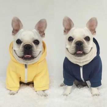 Solid Color Dog Zipper Sweater Coat Dark Blue Yellow Pet Dog Clothe Hoody Soft Cotton Dog Clothing Small Large Sizes Zipper Coat 1